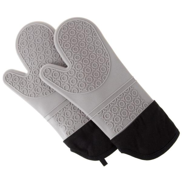 Silicone Gray Oven Mitts with Quilted Lining (2-Pack)