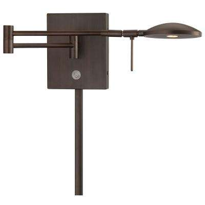 George's Reading Room 8-Watt Copper Bronze Patina Integrated LED Swing Arm