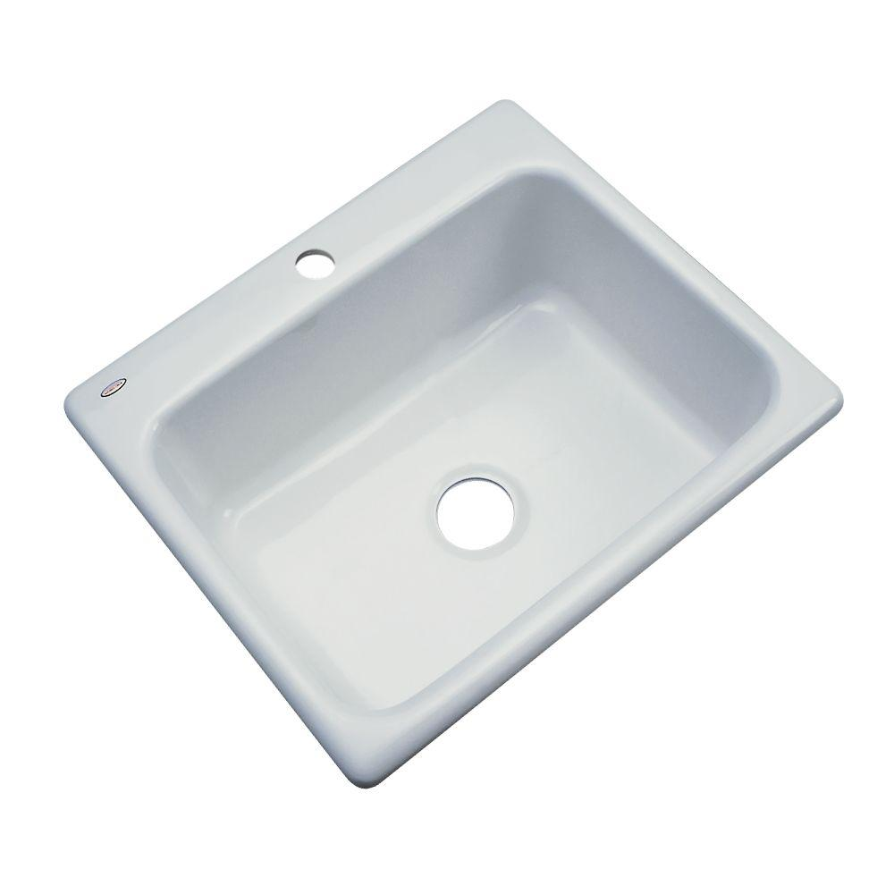 Inverness Drop-In Acrylic 25 in. 1-Hole Single Bowl Kitchen Sink in