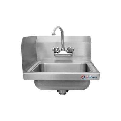Freestanding Stainless Steel 17 in. x 15 in. x 13 in. 2-Hole Single Bowl Kitchen Sink with Silver Faucet