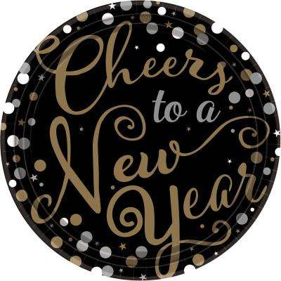 New Year's 10.5 in. x 10.5 in. Black Round Confetti Celebration Plates (18-Count, 3-Pack)