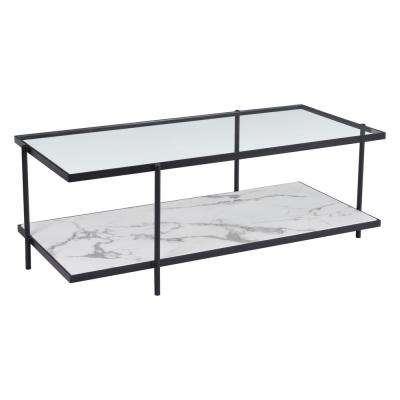 Winslett Clear and White and Matt Black Coffee Table