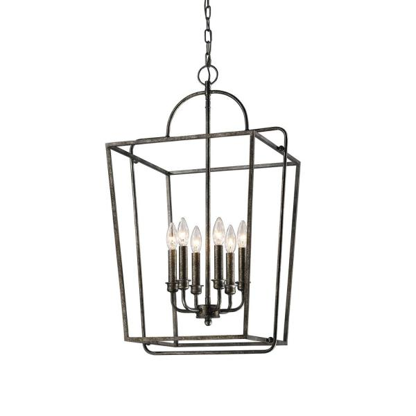 18 in. 6-Light Antique Silver Cage Pendant
