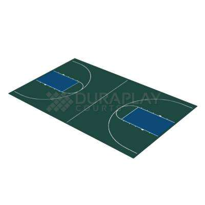 43 ft. 10 in. x 75 ft. 7 in. Hunter Green and Navy Blue Full Court Basketball Kit
