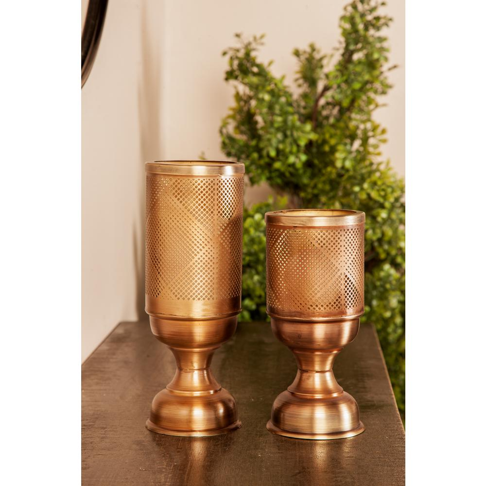 Gold Iron Perforated Design Chalice-Shaped Candle Holders (Set of 3)