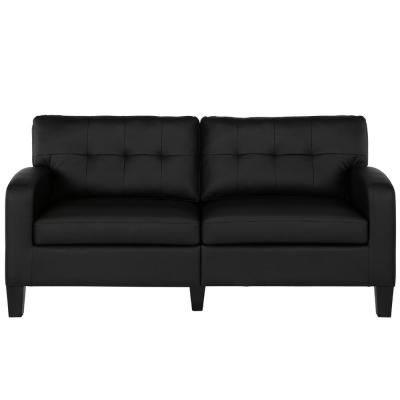 Zakari 72 in. Black Faux Leather 2-Seater Lawson Sofa with Slope Arms