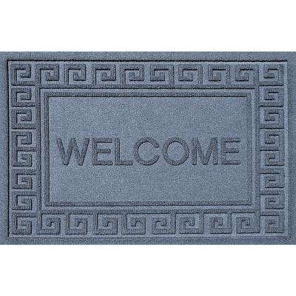 Greek Welcome Bluestone 24 in. x 36 in. Polypropylene Door Mat