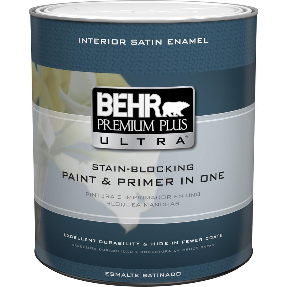behr premium plus ultra 1 qt ultra pure white satin enamel interior paint 775004 the home depot. Black Bedroom Furniture Sets. Home Design Ideas