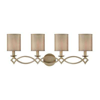 Estonia 4-Light  Aged Silver with Beige Half-Shades Bath Light