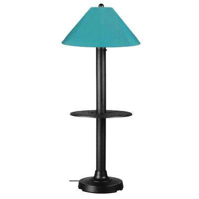 Catalina 63.5 in. Black Outdoor Floor Lamp with Tray Table and Aruba Shade