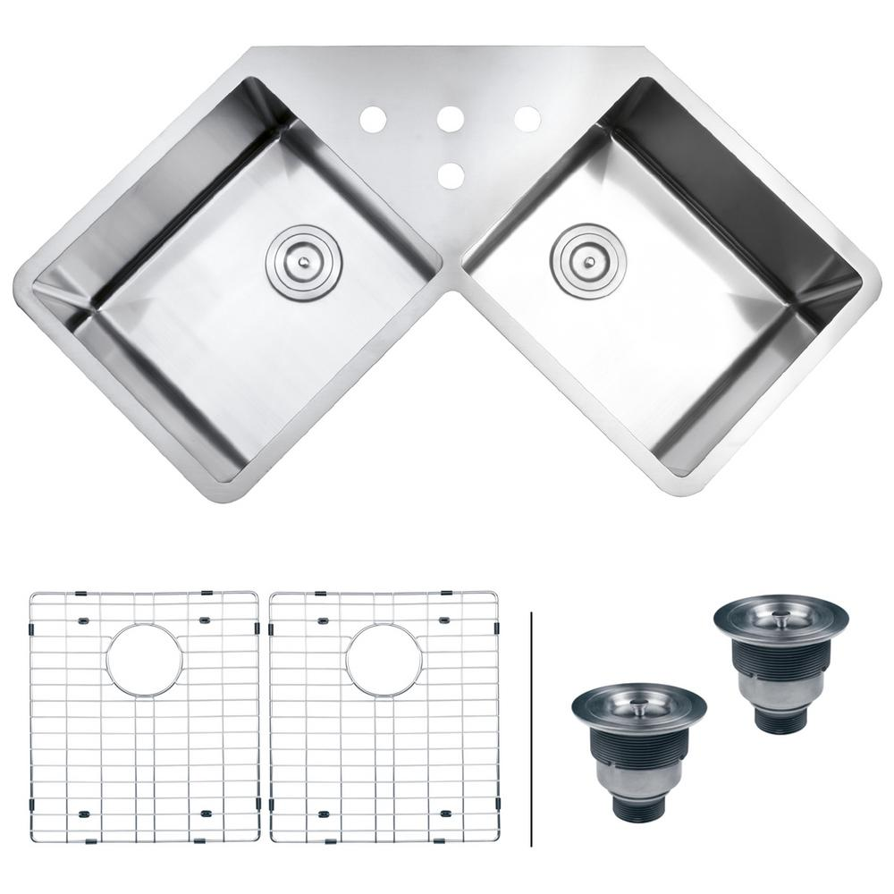 Ruvati 50/50 Undermount 16-Gauge Stainless Steel 44 in. Corner Butterfly  Double Bowl Kitchen Sink