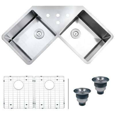 50/50 Undermount 16-Gauge Stainless Steel 44 in. Corner Butterfly Double Bowl Kitchen Sink