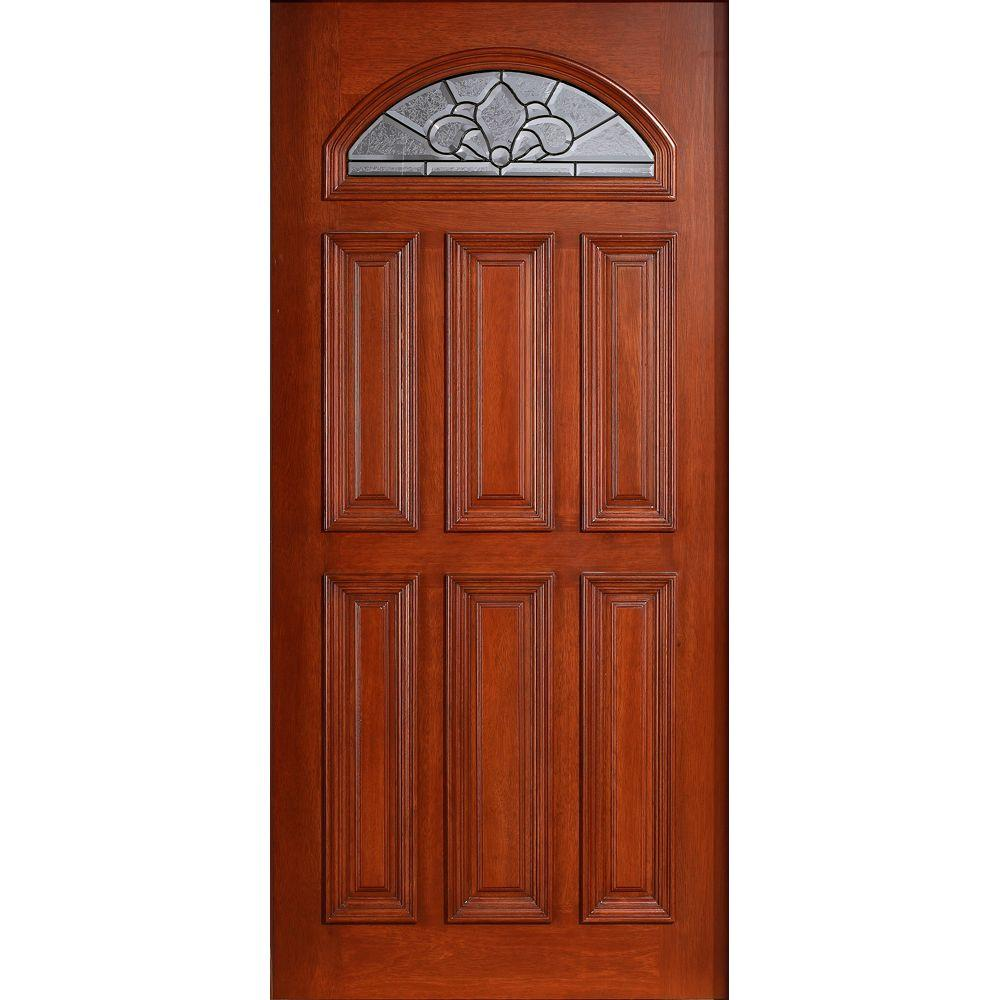 Main Door 36 in. x 80 in. Mahogany Type Prefinished Cherry Beveled Patina Fanlite Glass Solid Stained Wood Front Door Slab