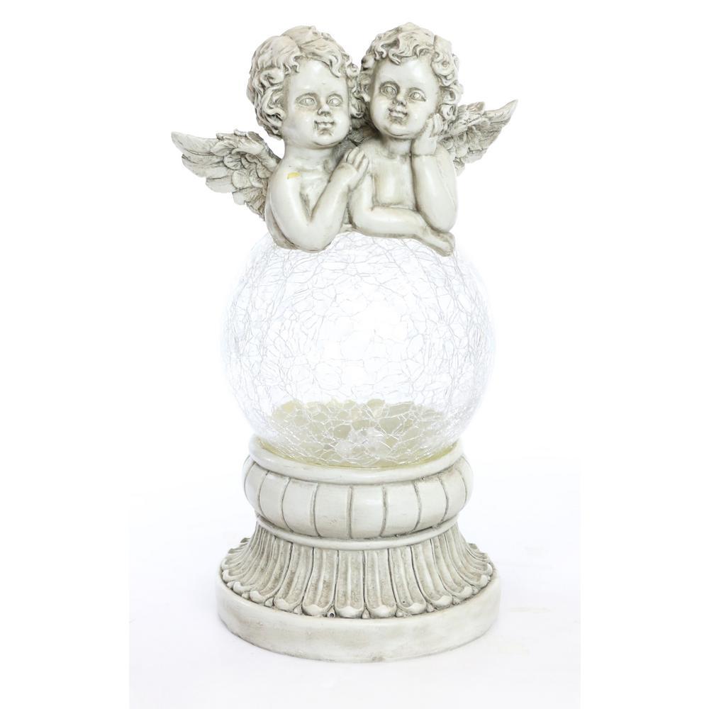Solar Cherub Angels on LED Crackled Glass