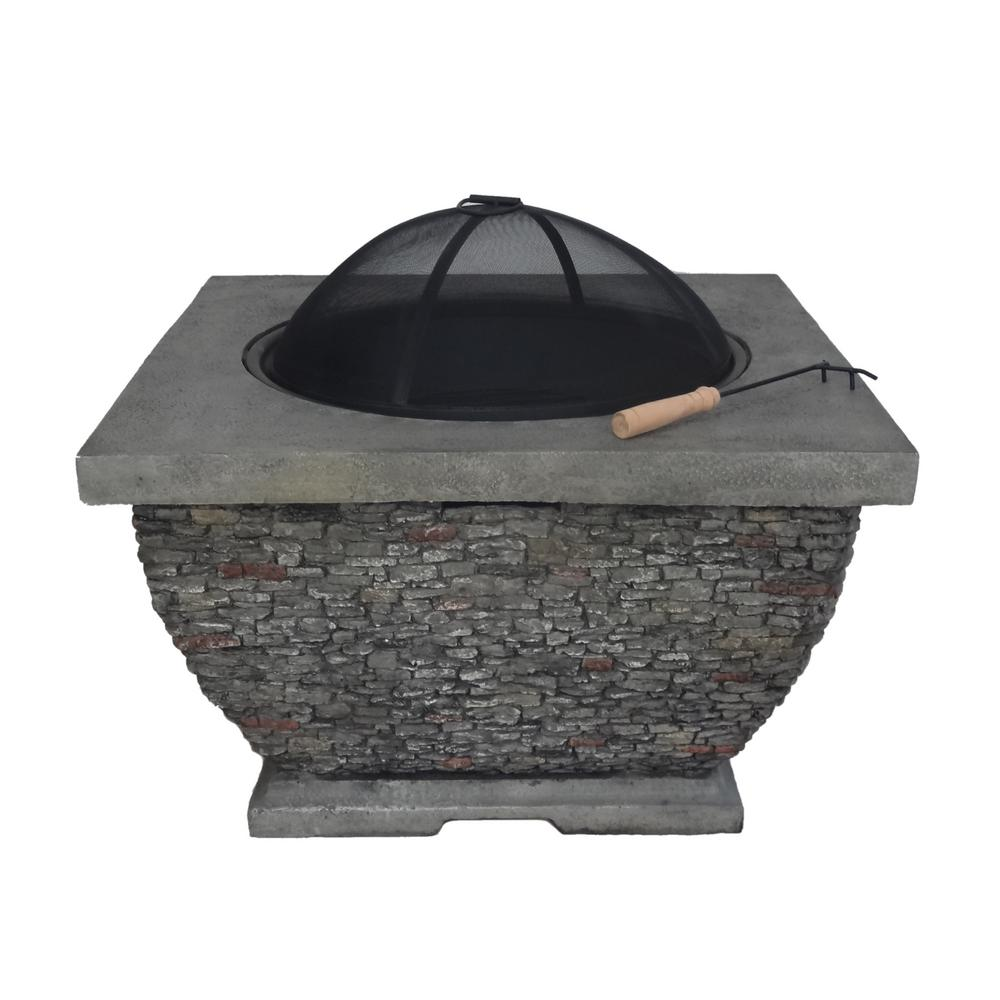 Noble House Karina 32 in. x 20 in. Square Concrete Wood Burning Fire Pit in Grey