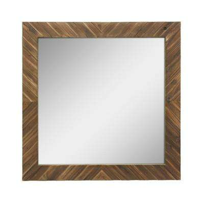 Square Wooden Decorative Wall Mirror