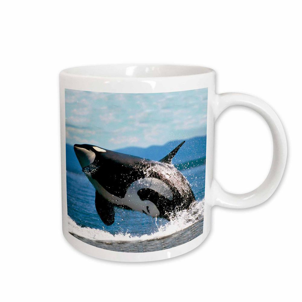 11 oz. White Ceramic Killer Whale Airbourne Mug