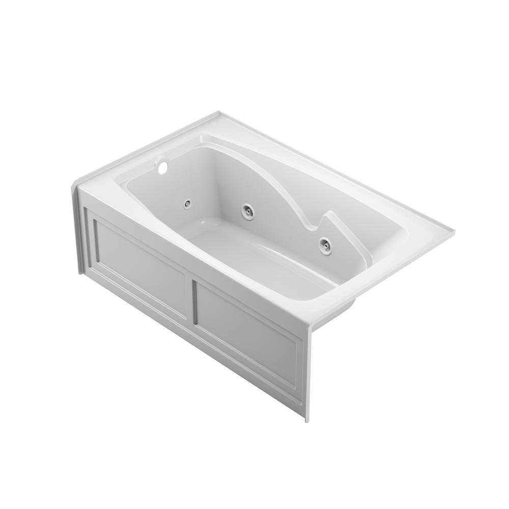 Jacuzzi Cetra 60 In Acrylic Left Drain Rectangular Alcove Whirlpool Bathtub In White Ct26036wlr2xxw The Home Depot