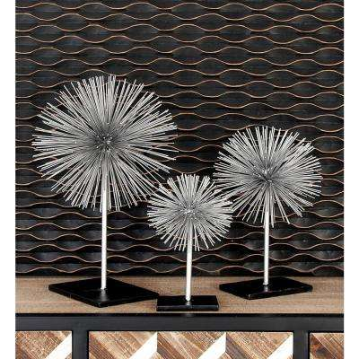 Round Iron Metal Silver Starburst Sculptures with Stand (Set of 3)
