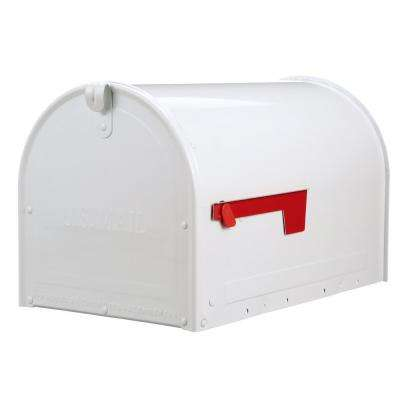 Marshall White Post Mount Locking Mailbox