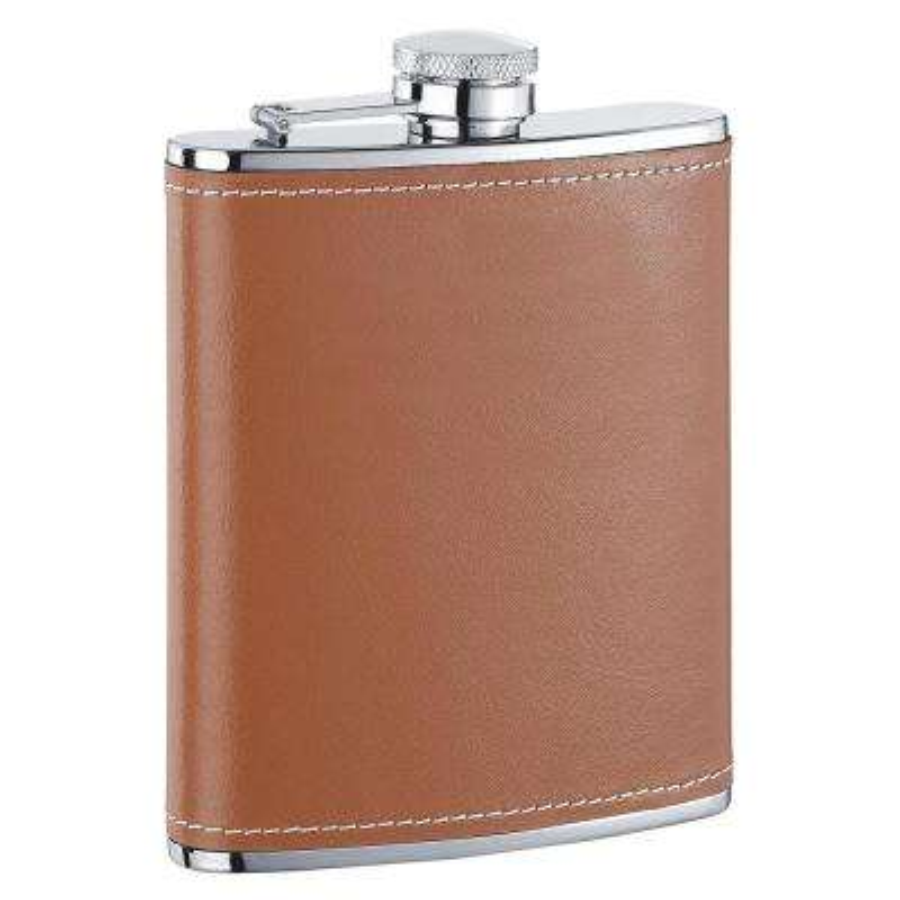 Hound X Brown Leather Liquor Flask 6 oz.