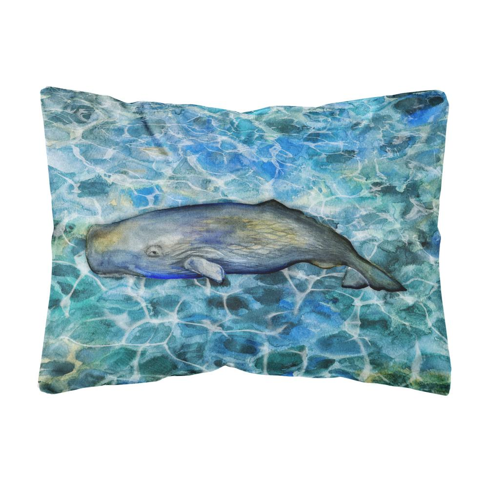 Caroline's Treasures 12 in. x 16 in. Multi-Color Lumbar Outdoor Throw Pillow Sperm Whale Cachalot