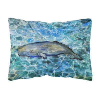12 in. x 16 in. Multi-Color Lumbar Outdoor Throw Pillow Sperm Whale Cachalot