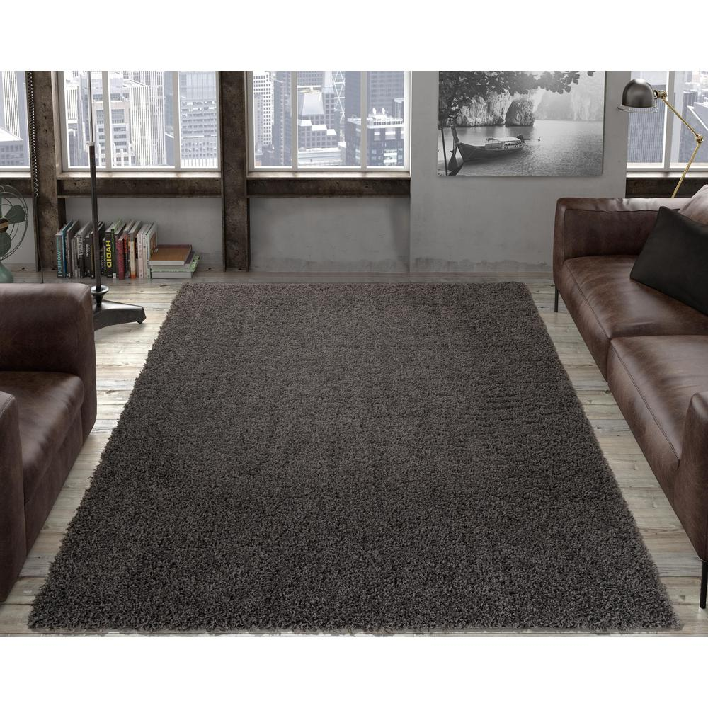 Ottomanson Contemporary Solid Grey 5 Ft X 7 Ft Shag Area