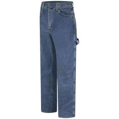 EXCEL FR Men's 44 in. x 30 in. Stone Wash Pre-washed Denim Dungaree