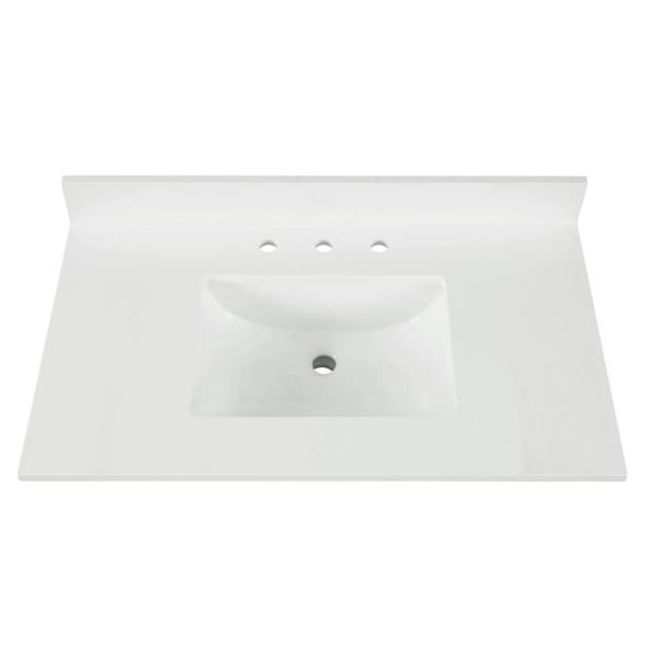 43 in. W x 22 in. D x 0.75 in. H Quartz Vanity Top in Snow White with White Basin