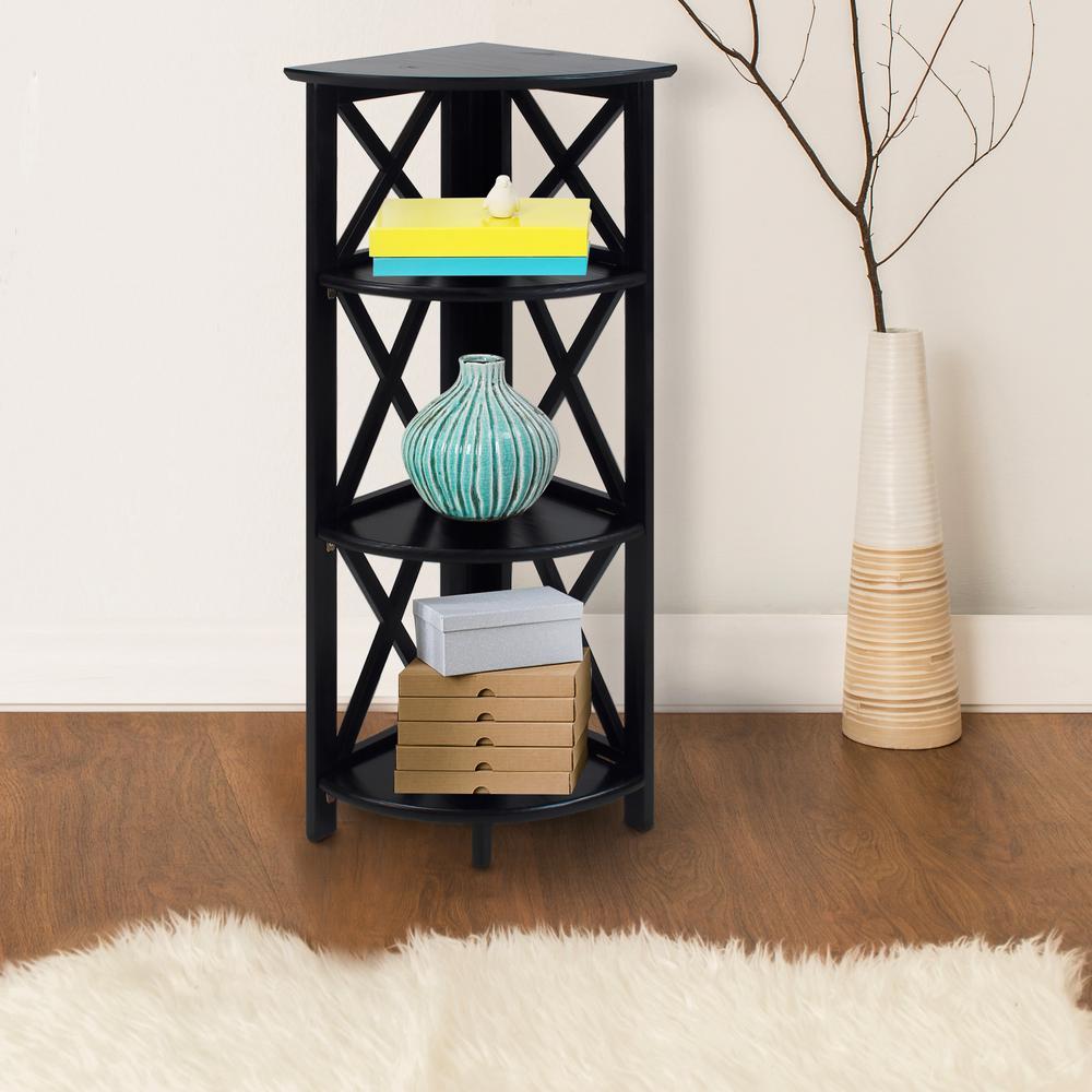 Casual Home X-Design Black 4-Shelf Corner Folding Bookcase