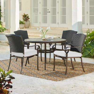 Walton Springs 5-Piece Aluminum Wicker Outdoor Dining Set with Cushions Included, Choose Your Own Color