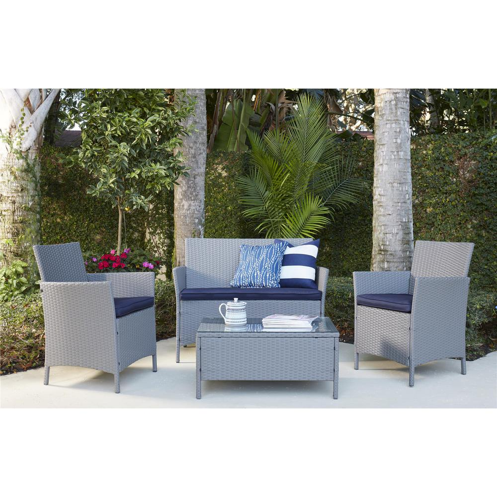 Jamaica 4-Piece Jamaica Gray Resin Wicker Patio Deep Seating Conversation Set