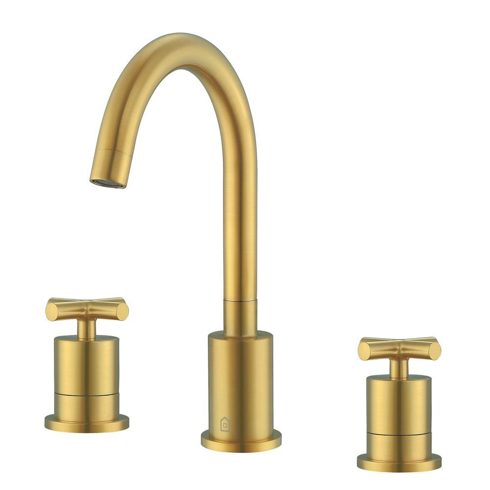 Ava 8 in Widespread 2-Handle Cross Bathroom Faucet in Titanium Gold Finish