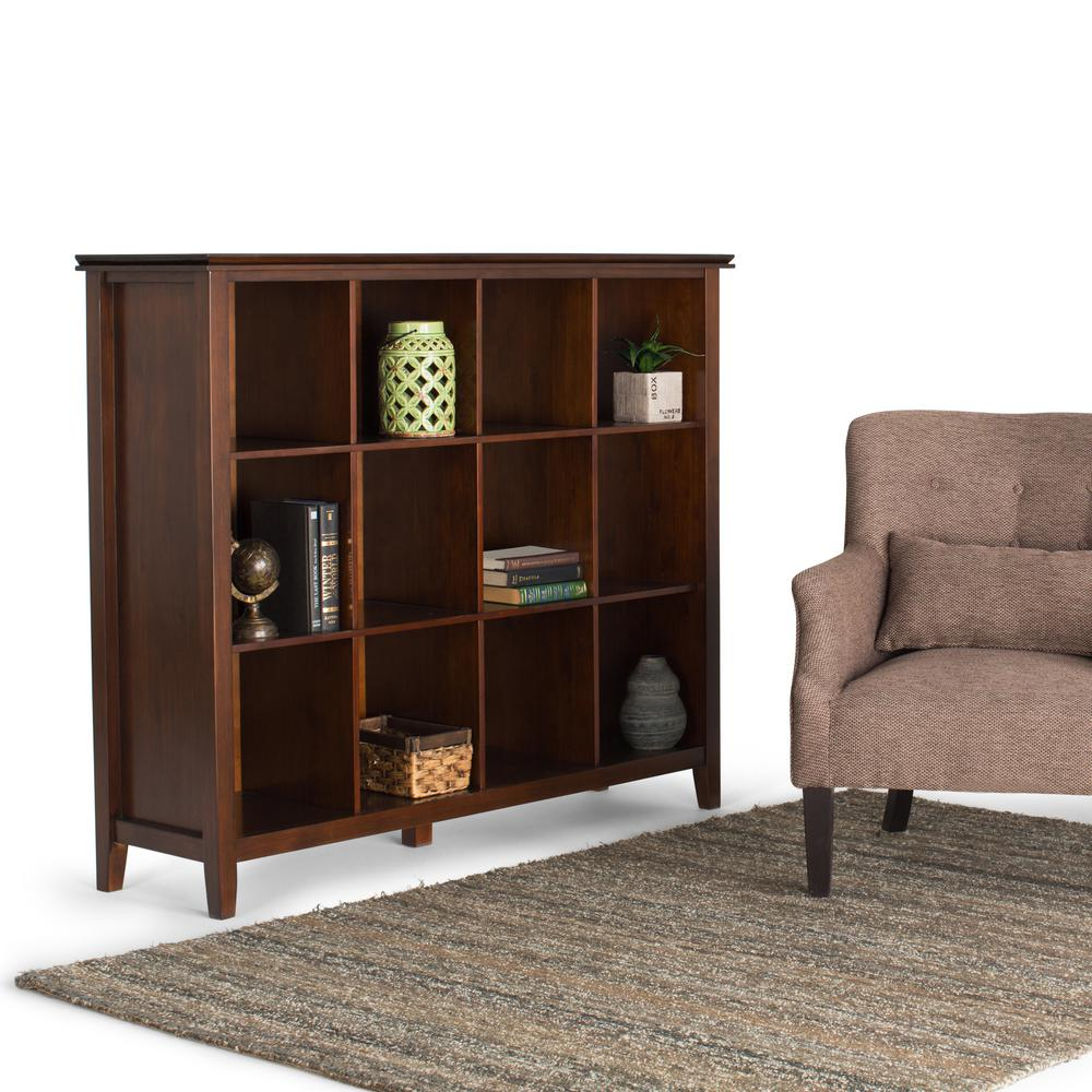 Simpli Home Artisan Medium Auburn Brown Open Bookcase