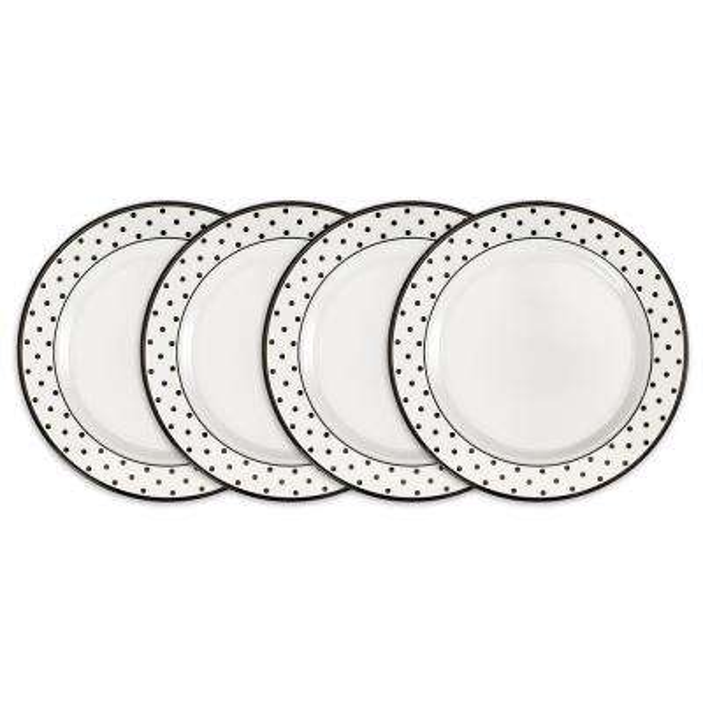 Moonbeam 4-Piece Black Melamine 8 in. Dots Salad Plate Set