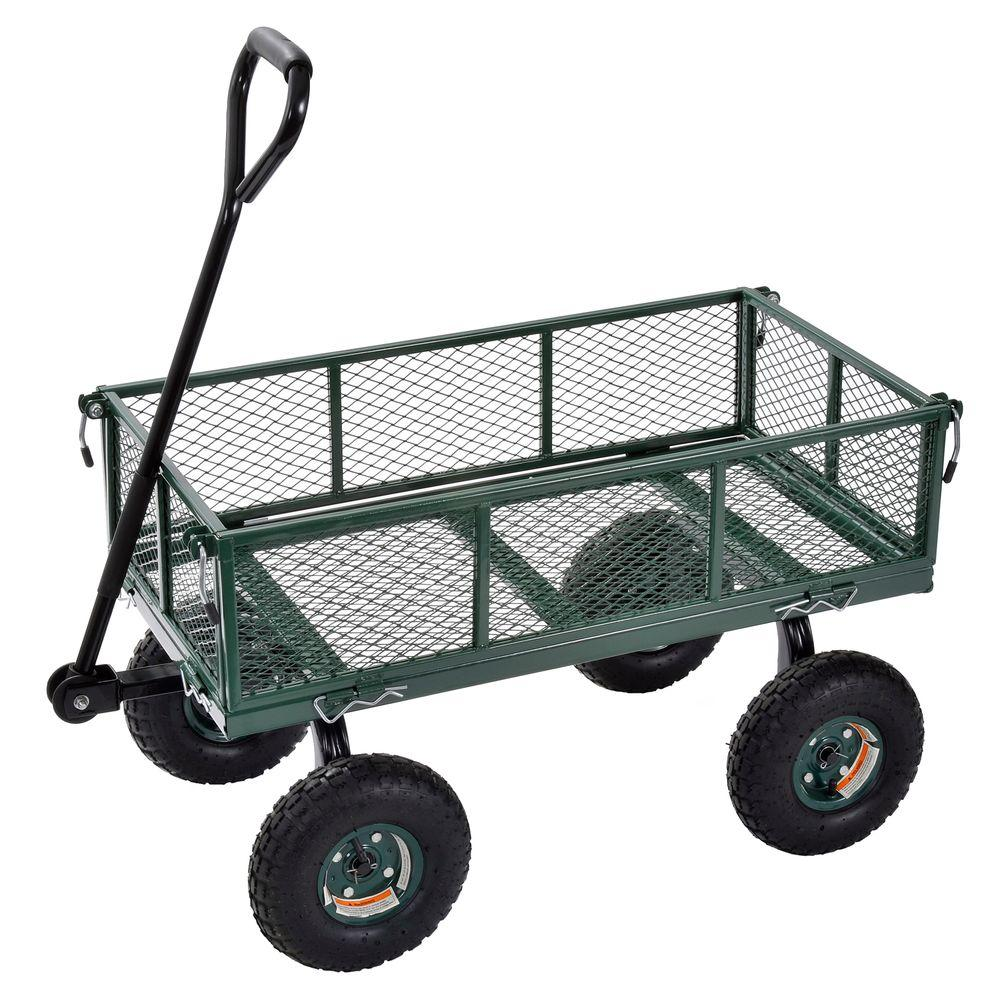 Muscle Rack 3 cu. ft. 18 in. W Mesh Wire Utility Cart with Removable Sides, 400 lb. Capacity