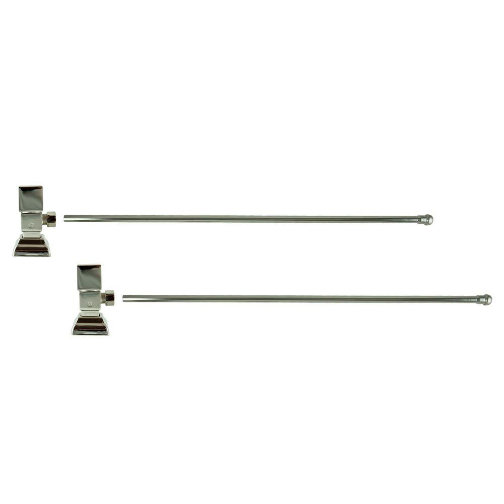 3/8 in. O.D x 20 in. Brass Rigid Lavatory Supply Lines with Square Handle Shutoff Valves in Polished Nickel Barclay provides all your essential bathroom needs. Enjoy the convenience of accessible water shut-off with these decorative lavatory supplies. Choose from 4 designer finishes. Color: Polished Nickel.