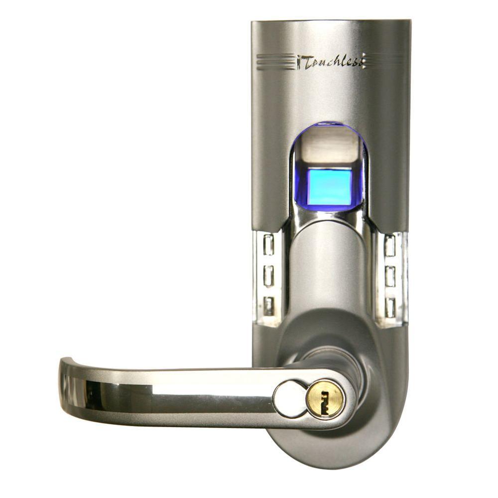 iTouchless Bio-Matic Fingerprint Silver Left Handle Door Lock