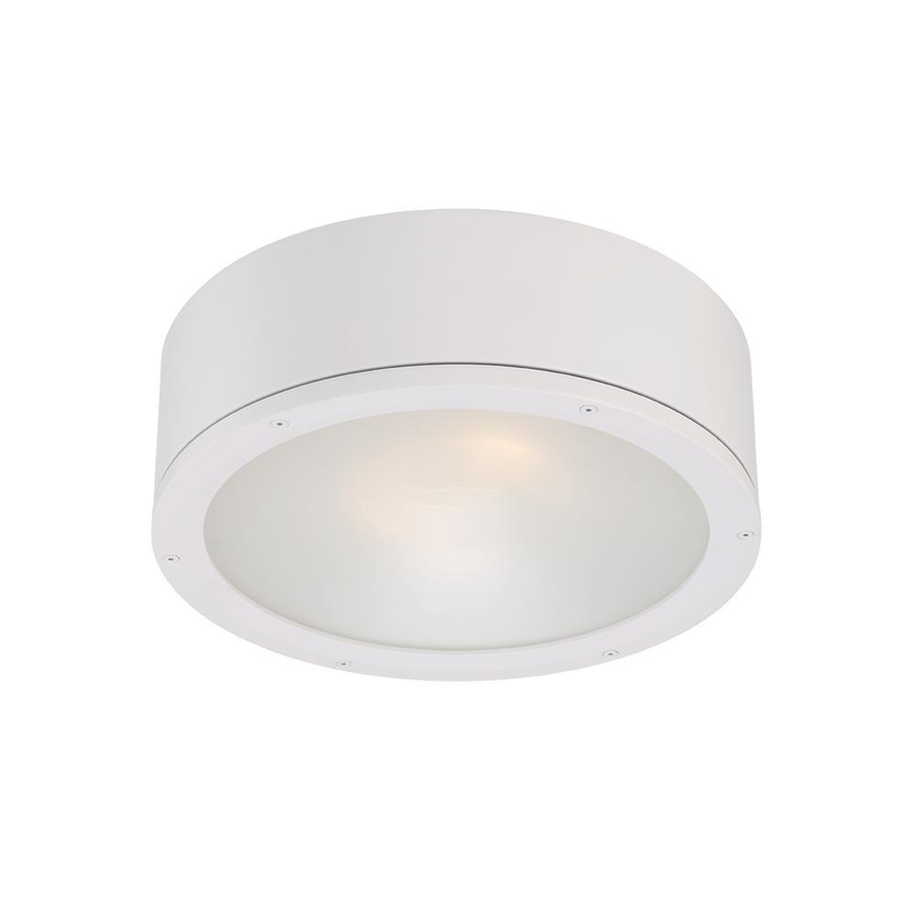 Tube 12 in. 1-Light White ENERGY STAR LED Indoor or Outdoor Flush Mount