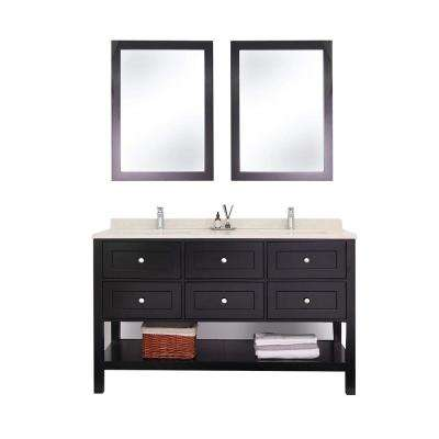 59 in. W x 22 in. D Vanity with Marble Vanity Top in Black with White Basin