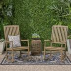 Arcadia Grey Wood Outdoor Rocking Chair (2-Pack)