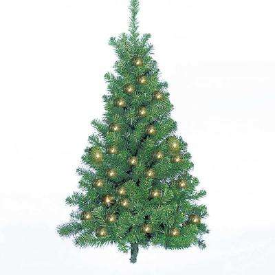 4 ft. Pre-Lit Norway Pine Half Artificial Christmas Tree with Clear Lights