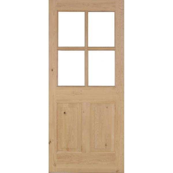 36 in. x 80 in. Rustic Knotty Alder 4-Lite Clear Glass 2-Panel Unfinished Wood Front Door Slab