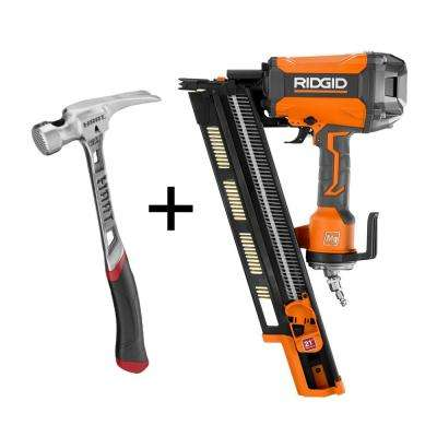 21° 3-1/2 in. Round-Head Framing Nailer and 21 oz. Milled Faced Steel Framing Hammer