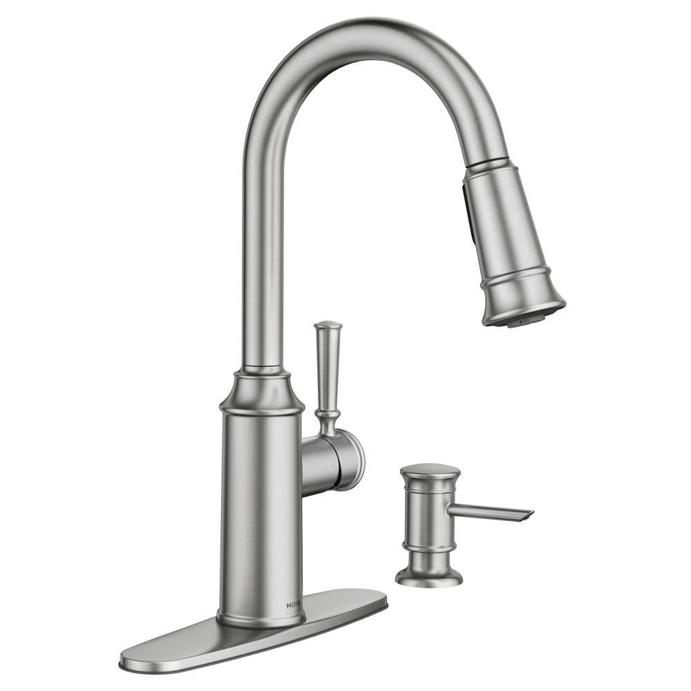 Moen Glenshire Single Handle Pull Down Sprayer Kitchen Faucet With Reflex And Power Clean In Spot Resist Stainless 87731srs The Home Depot