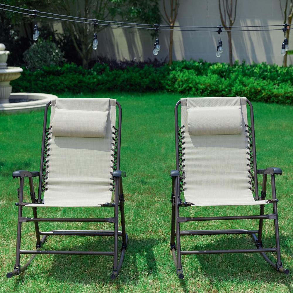 Beige Metal Outdoor Rocking Chair