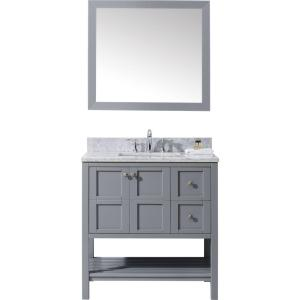Virtu USA Winterfell 36 inch W x 22 inch D Vanity in Grey with Marble Vanity Top in White with White Basin and Mirror by Virtu USA