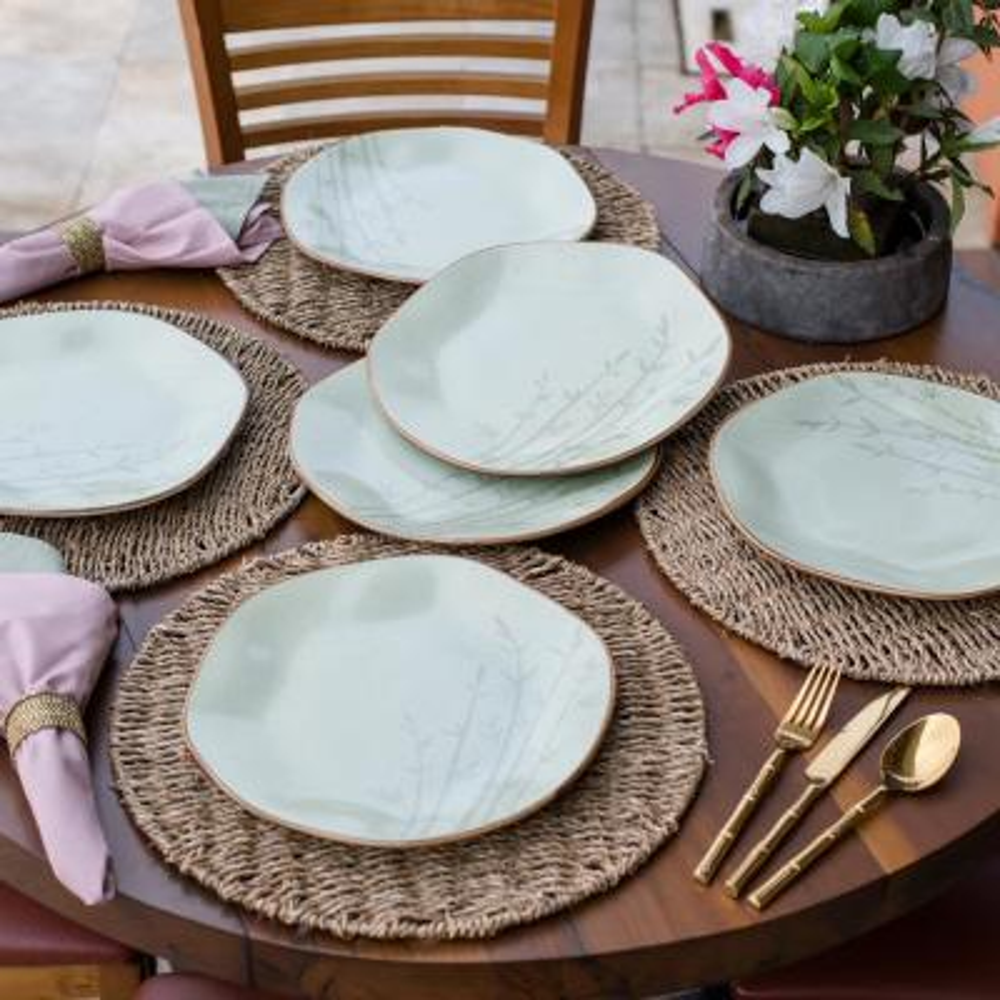 11.02 in. RYO Green Dinner Plates (Set of 12)