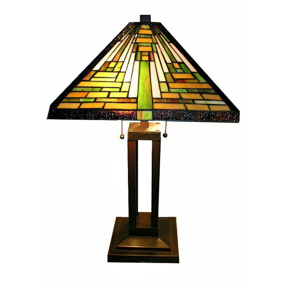 Warehouse of Tiffany 24 in. Bronze Frank Lloyd Table Lamp with Stained Glass